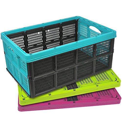 COM-FOUR® 3x Klappbox mit Griffmulden, in verschiedenen farben, klappbarer Einkaufskorb, 32 Liter, 50,5 x 33,5 x 22 cm (03 Stück - Mix)
