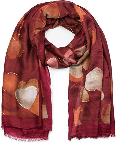 styleBREAKER Damen Schal mit Metallic Herzen und Fransen, Tuch 01017084, Farbe:Bordeaux-Rot - Fransen Herz