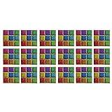 koperras Autocollant Mural 3D, 10X10Cm De Grains De PéTales CarréS Ombrage Sale Couleur Bleu Foncé Correspondant à La Maison DéCoration Carrelage Stickers Muraux Art DéCorations