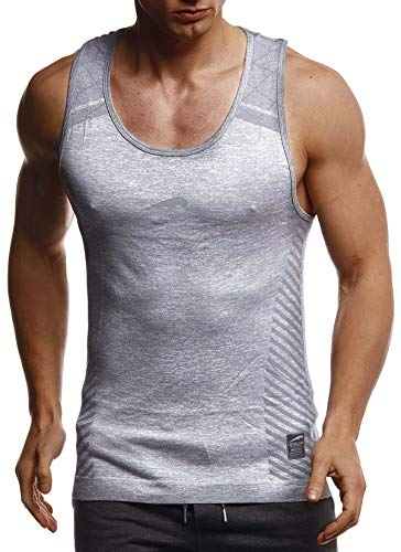 Leif Nelson Gym Herren Seamless Fitness Sport-Shirt ohne Ärmel Top Trainingsshirt Slim Fit Männer Bodybuilder Training Funktionsshirt Bekleidung für Bodybuilding LN8308 Grau-Reflekt Medium