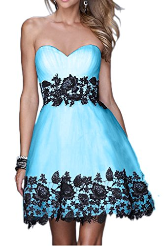 Victory Bridal 2015 Neu Sommer Cocktailkleider Partykleider Tanzenkleider Abendkleider Mini Kurz mit Spitze Blau
