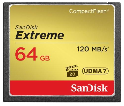 Sandisk extreme compactflash scheda di memoria 64 gb, 120 mb/s