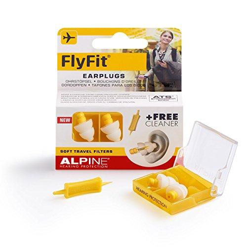Alpine FlyFit - Ohrstöpsel für den Druckausgleich beim Fliegen, Gratis Cleaner