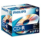 Philips CD-R Rohlinge (700 MB Data/80 Minuten, 52x High Speed Aufnahme, 10er Jewel Case)