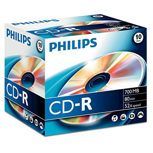Philips CD-R Rohlinge (700 MB Data/ 80 Minuten, 52x High Speed Aufnahme, 10er Jewel Case)