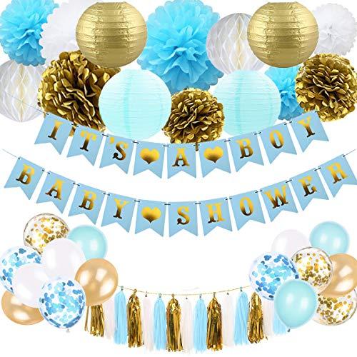 Baby Shower Dekorationen für Jungen - Blau und Gold Baby Shower Dekoration Es ist EIN Boy & Baby Shower Banner mit Papierlaterne Pompoms Blumen Honeycomb Ballons Quaste