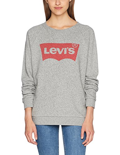 Levi's Damen Relaxed Graphic Crew Sweatshirt, Grau/Fleece Batwing Smokestack Htr 0, Medium (Frauen Pullover Crew)