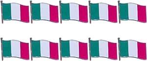 TENDYCOCO 10 pz Bandiera Spilla Italiana Bavero Spilla di Ferro verniciatura a Polvere Abbigliamento Arredamento per Il Festival Party