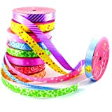 Infinxt Multipurpose Printed Curly Ribbon For Decoration, Gift packing, Art & Craft (Set of 10)
