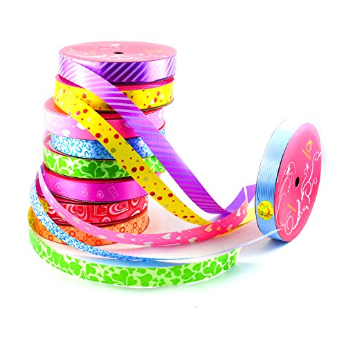 INFInxt Multipurpose Printed Curly Ribbon for Decoration, (Set of 10)