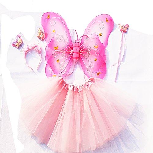 Tante Tina - Schmetterling Kostüm für Mädchen - 4-teiliges Set - Feenflügel / Schmetterlingsflügel Verkleiden - Rosa mit ()