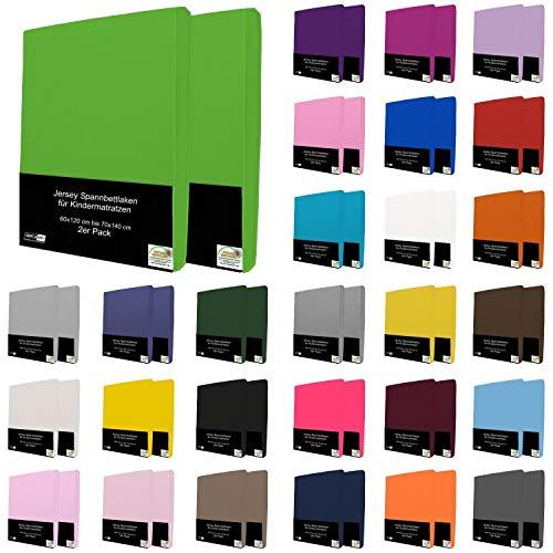 2er Pack Kinder Spannbettlaken 70x140 cm 60x120 cm Jersey Spannbetttuch für Babybett Kinderbett, Grau