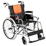 GUO Aluminiumlegierung des Rollstuhls H062 für Den Älteren Leichtgewichtsrollstuhl, der Manuellen Rollstuhl Frei mit der Handbremse Aufblasbar Faltet,Ein,Einheitsgröße