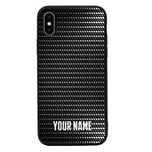 I-CHOOSE LIMITED Personalisiert Dein Name Kohlenstoff-Faser Gehärtetes Glas Zurück Hülle Kompatibel mit iPhone 8 Plus - Telefon Stoßstangenschutz für 5,5 Zoll Bildschirm