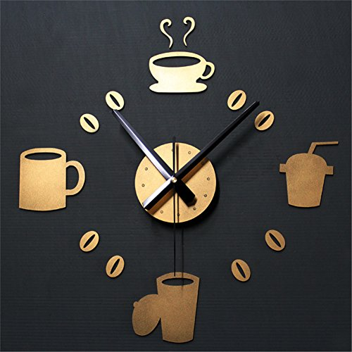 DIY Modern Stumm Wanduhr 3D Acryl Spiegeleffekt Große Uhr Dekoration Zum Zuhause Büro Metallfarbe Kaffeetasse Stil