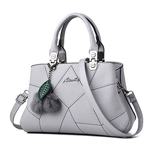 Barwell Damen Handtasche lässig Umhängetasche Taschen Frauen PU-Leder Schultertasche Grau 3