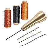 4 Nadeln mit Kupfergriff, Nähahle, Bohrahle, Handsticher, Schuh-Reparaturset, mit 150 m 0,8 mm Nähgarn, gewachst, für Reparaturen von Leinen, Leder (Gold + Schwarz + Braun)