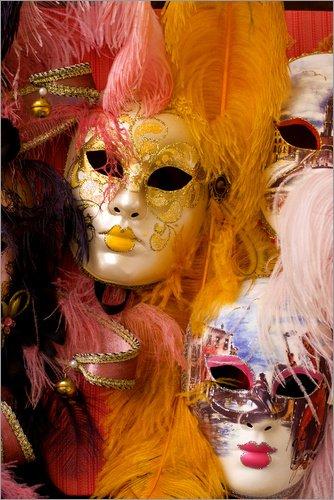 Kostüm Jongleur - Posterlounge Alubild 80 x 120 cm: Bunte Karnevalsmasken von Bill Bachmann/Danita Delimont