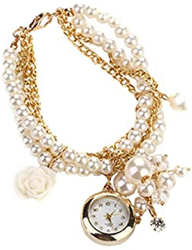 lvpai Damen Rose Blume Design Faux Perle runden Zifferblatt Analog Quarz Armband Armbanduhr, Weiß