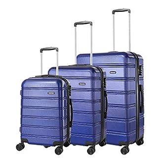 REYLEO Juego de Maletas Rígida de Viaje 20″ 24″ 28″ Equipaje de Mano con 4 Ruedas Silenciosas y Candado de Combinación – Azul