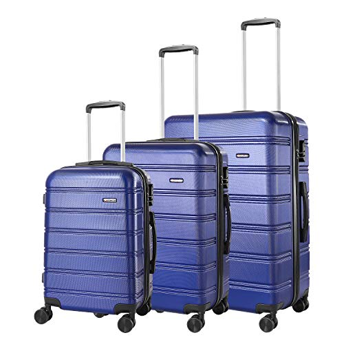 REYLEO Set di 3 valigie bagagli ABS, integrata con ruote di spinner 20 pollici 24 pollici 28 pollici