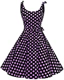 bbonlinedress 1950er Vintage Polka Dots Pinup Retro Rockabilly Kleid Cocktailkleider Black Purple Big Dot L