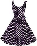 bbonlinedress 1950er Vintage Polka Dots Pinup Retro Rockabilly Kleid Cocktailkleider Black Purple Big Dot 3XL