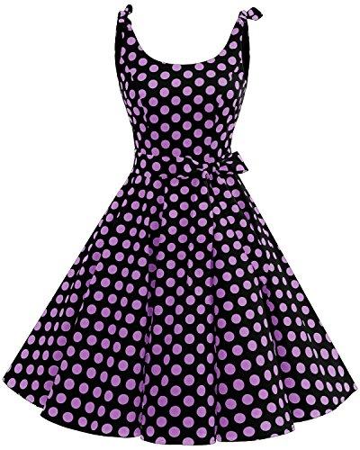 bbonlinedress 1950er Vintage Polka Dots Pinup Retro Rockabilly Kleid Cocktailkleider Black Purple Big Dot XS (Floral Vintage-gürtel)