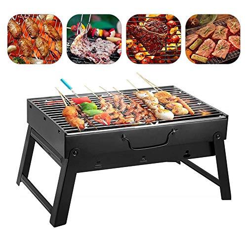 A Privilege Portable BBQ Grill, Tragbar Holzkohlegrill, Schaschlikgrill Kohlegrill, Mini Grill Campinggrill für 3-5 Personen Picknick Garten Camping Party, 35 x 27 x 20cm (Black)