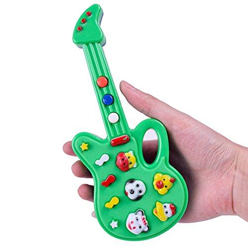 E-Gitarre Spielzeug Kunststoff Mini Ukulele Kinder musikinstrumente lernspielzeug niedlichen Tier knopf bedienen Bunte Cartoon Gitarre fördern gehirn entwicklung für 18 Monate und mehr (Musikinstrumente Mini Spielzeug)