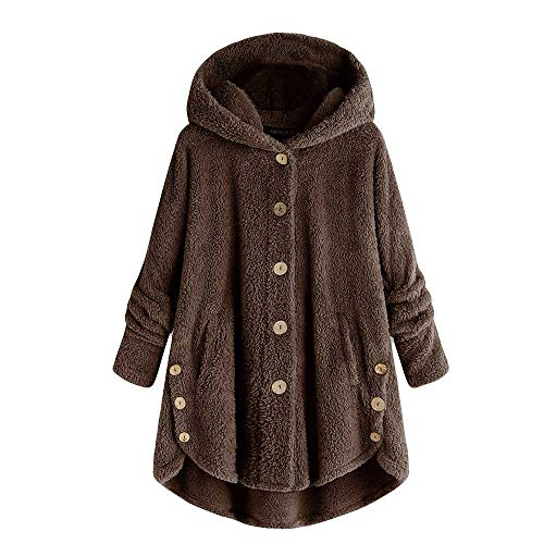 Juliyues Hoodie Pullover Damen Fleece Kapuzenpullover Solid Parka Sweatershirt Plus Size Teddy-Fleece Mantel Jacke Outwear