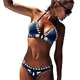 Internet Damen Sexy Bohemien Split Badeanzug Swimwear Bikini Push up Bandeau Neckholder Strand Fluoreszenz Bademode Swimsuit Bandage Tankini Beachwer Shorts Oberteil Tops und Bottoms Set (Blau, M)