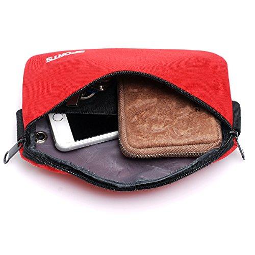 Outdoor peak Nylon klein Gürteltasche Multifunktions-Tasche Fahrrad laufen Brusttasche Rot