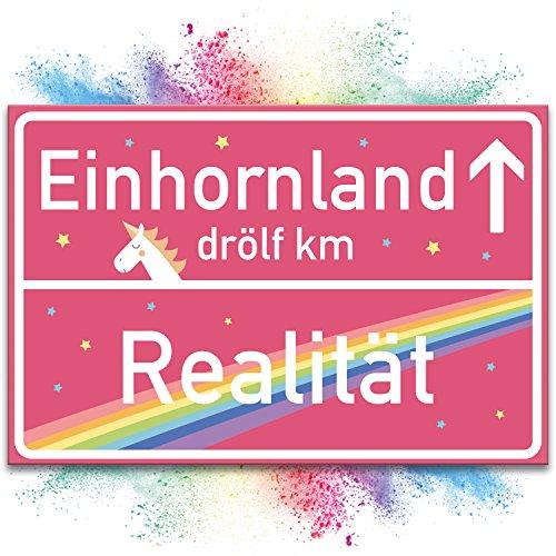 Einhorn Kunstoff Schild - rosa Ortsschild / Ortstafel Einhornland, Deko / Wanddeko, Geschenk -...
