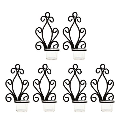 Homyl 6er Set Wandleuchter Metall Kerzenhalter Wanddeko Antik Leuchter Kerzen