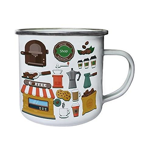 Éléments du magasin de café nouveauté drôle Rétro, étain, émail tasse 10oz/280ml b500e