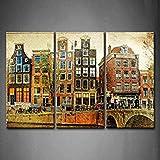 3 Verkleidung Amsterdam Retro Styled Bild Brücke Fluss Baum Häuser Fahrzeug Wandkunst Malerei Das Bild Druck Auf Leinwand Die Architektur Kunstwerk Bilder Für Zuhause Büro Moderne Dekoration