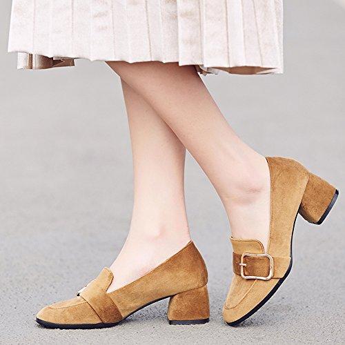 Qiangda Chaussures Femmes Haut Haut Chaussures Microfibre En Caoutchouc Automne Style Rétro, Hauteur Du Talon 5 Cm, 3 Couleurs En Option (couleur: Noir, Dimensions: Eu36 = Uk4) Brun Clair