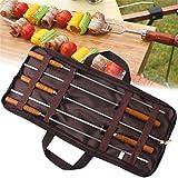 JasCherry 5 Pezzi in Acciaio INOX Barbecue Spiedini Forchetta Set Kit - Durevole e Sicuro BBQ Accessori - Lunghezza 42cm