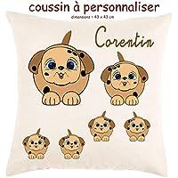 Texti-cadeaux, Coussin toucher très doux, motif Chien à personnaliser avec Prénom…