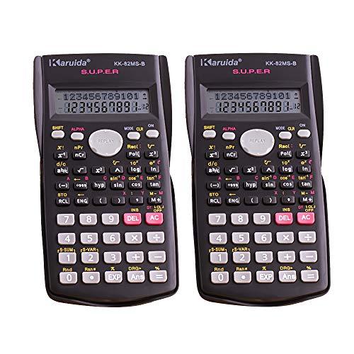Wissenschaftliche Taschenrechner, 2-zeiliges Display, multifunktionaler Taschenrechner für Schüler und Lehrer, 2 Stück, schwarz ()