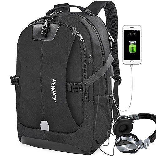 Laptop Zaino Uomo PC Zaini Impermeabile Usb Ricarica Porto Antifurto Portatili Affari Grande Viaggio Adulti Scuola Università Nero Meno Di 17 Pollici Portatile