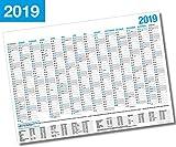 XL Wandkalender 2019 / Kalender Jahresplaner - 14 Monate Jahreskalender + Gratis Urlaubsplaner 2019 (98 x 59 cm)