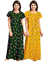 YUKATA Green&Yellow Floral Women Feeding/Maternity Gowns Combo Pack of 2 Item Name (aka Title)