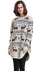 Idea Regalo - Shineflow Renna da Donna con Fiocco di Neve e Maglione Maglione di Natale (Medium, Beige)
