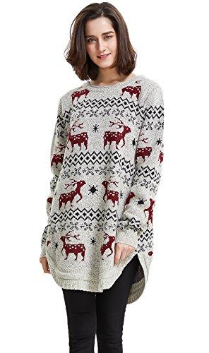 shineflow renna da donna con fiocco di neve e maglione maglione di natale (x-large, beige)