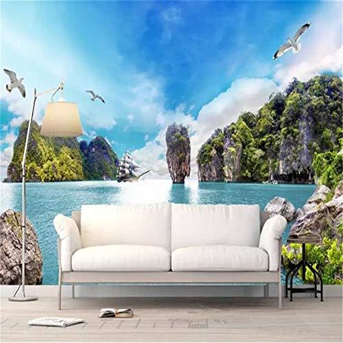 XZDXR Murale, Adesivo da Parete 3D, Foto Personalizzata 3D Carta Gabbiano Candela Bella Vista Mare Parete Interna TV Decorazione, 366X254 Cm