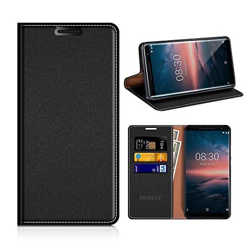 MOBESV Nokia 8 Sirocco Hülle Leder, Nokia 8 Sirocco Tasche Lederhülle/Wallet Case/Ledertasche Handyhülle/Schutzhülle mit Kartenfach für Nokia 8 Sirocco - Schwarz