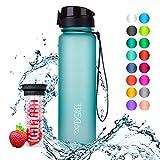 720°DGREE Trinkflasche 'uberBottle' - 1 Liter, 1000ml, Blau - Neuartige Tritan Wasser-Flasche - Water Bottle BPA Frei - Ideale Sportflasche für Kinder, Fitness, Fahrrad, Sport, Fussball