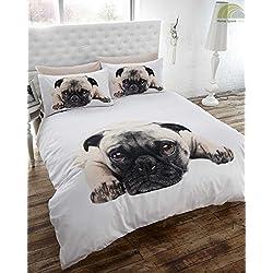 Perro carlino colcha funda de edredón y almohada juego de cama, blanco, doble